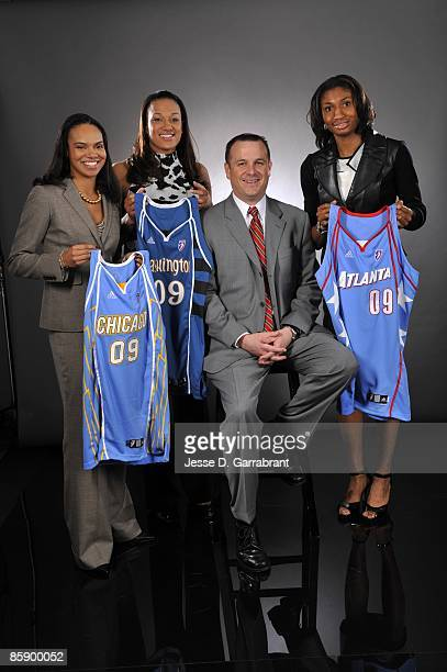 Kristi Toliver of the Chicago Sky, Marissa Coleman of the Washington Mystics, Jeff Walz of the University of Louisville and Angel McCoughtry of the...