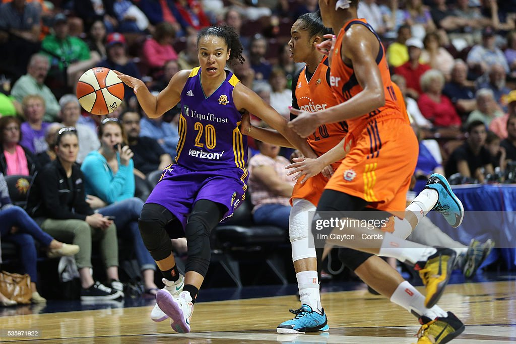 Kristi Toliver #20 of the Los Angeles Sparks in action during the Los Angeles Sparks Vs Connecticut Sun, WNBA regular season game at Mohegan Sun Arena on May 26, 2016 in Uncasville, Connecticut.