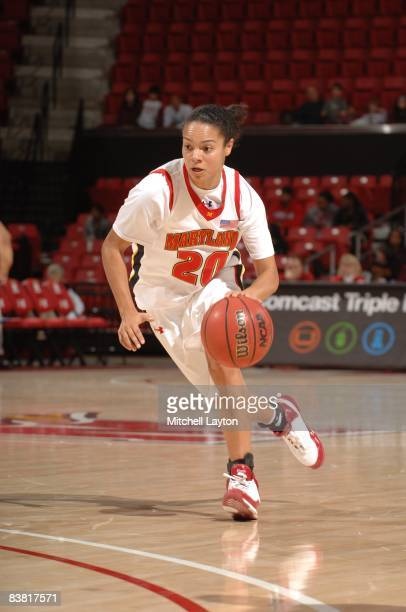 Kristi Toliver of the Maryland Terrapins dribbles the ball during a womens college basketball game against the UCLA Bruins on Novmeber 23, 2008 at...