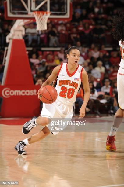 Kristi Toliver of the Maryland Terrapins handles the ball against the Rutgers Scarlet Knights at the Comcast Center on February 15 2009 in College...