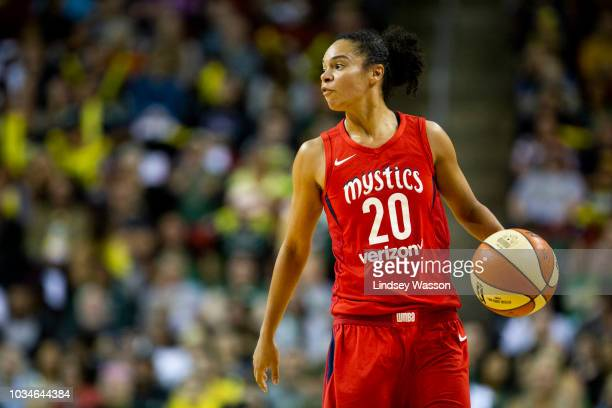 Kristi Toliver of the Washington Mystics communicates with her teammates as she pushes towards the basket during the first half of Game 2 of the WNBA...