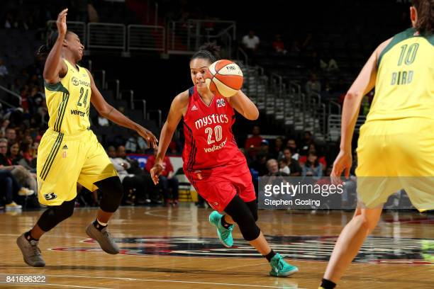 Kristi Toliver of the Washington Mystics handles the ball during the game against the Seattle Storm during a WNBA game on September 1 2017 at the...