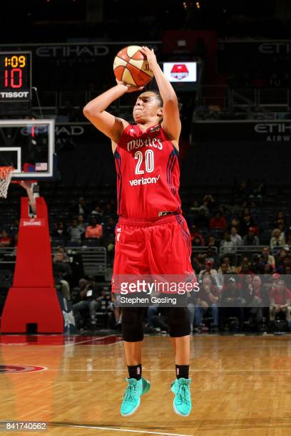 Kristi Toliver of the Washington Mystics shoots the ball during the game against the Seattle Storm during a WNBA game on September 1 2017 at the...