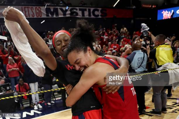 Kristi Toliver of Washington Mystics celebrates after the Mystics defeated the Connecticut Sun during Game Five of the 2019 WNBA Finals at St...