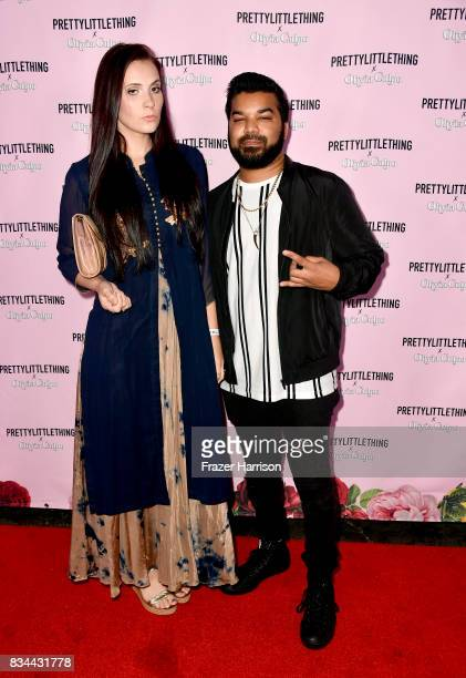 Kristi Tucker and Adrian Dev attends PrettyLittleThing X Olivia Culpo Launch at Liaison Lounge on August 17 2017 in Los Angeles California