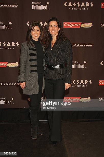 Kristi Yamaguchi and Nancy Kerrigan attend the press conference for The Caesars Tribute A Salute to the Golden Age of American Skating at Caesars...