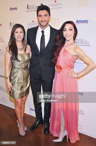 Kristi Yamaguchi Evan Lysacek and Meryl Davis attend the 10th Annual Skating With The Stars Benefit Gala at 583 Park Avenue on April 13 2015 in New...