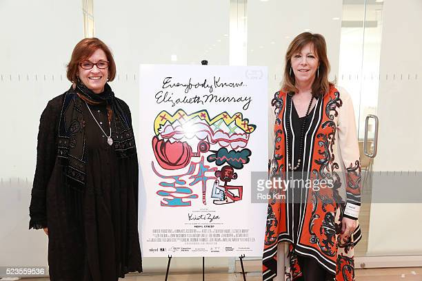 """Kristi Zea and Jane Rosenthal attend the premiere of """"Everybody Knows... Elizabeth Murray"""" during the 2016 Tribeca Film Festival at Whitney Museum of..."""