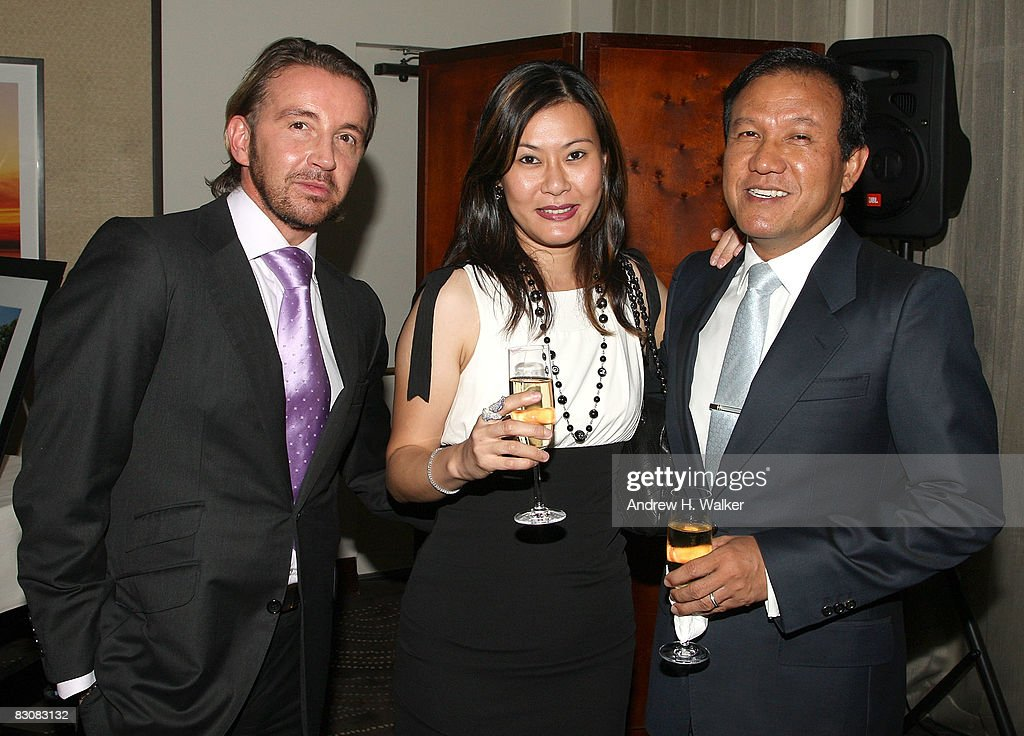 Kristiaen Van Gastel, Winnie Madhavan and Gilbert Madhavan attend the Raffles Hotels & Resorts and Elite Traveler Celebration of the Latest in Luxury Travel on October 1, 2008 at Daniel in New York City.
