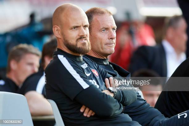 Kristian Bach Bak assistant coach of FC Midtjylland and Jess Thorup head coach of FC Midtjylland looks dejected during the Danish Superliga match...