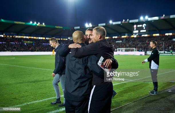 Kristian Back Bak assistant coach of FC Midtjylland Brian Priske assistant coach of FC Midtjylland ad Jess Thorup head coach of FC Midtjylland...