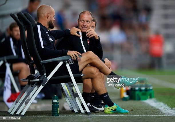 Kristian Back Bak assistant coach of FC Midtjylland Jess Thorup head coach of FC Midtjylland and Brian Priske assistant coach of FC Midtjylland...
