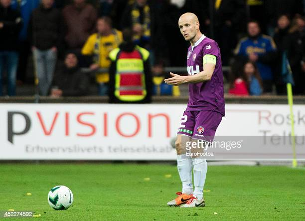 Kristian Bak Nielsen of FC Midtjylland in action during the Danish Superliga match between Brondby IF and FC Midtjylland at the Brondby Stadium on...