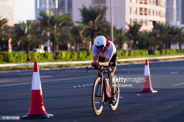 Kristian Blummenfelt of Norway competes during the bike leg of IRONMAN 703 Middle East Championship Bahrain on November 25 2017 in Bahrain Bahrain
