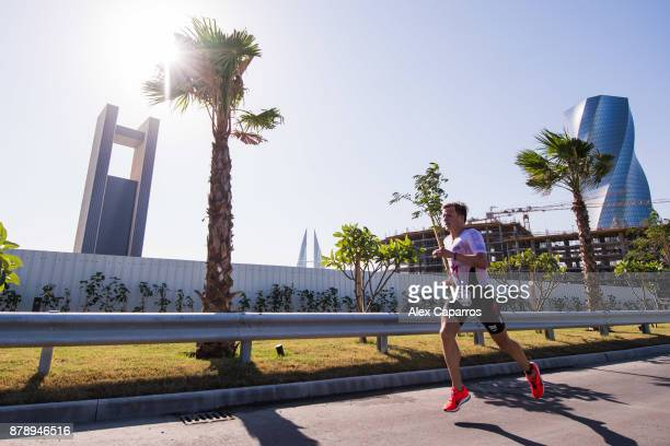 Kristian Blummenfelt of Norway competes during the run leg of IRONMAN 703 Middle East Championship Bahrain on November 25 2017 in Bahrain Bahrain