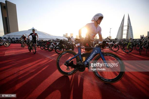 Kristian Blummenfelt of Norway competes in the bike section of Ironman 703 Middle East Championship Bahrain on November 25 2017 in Bahrain Bahrain