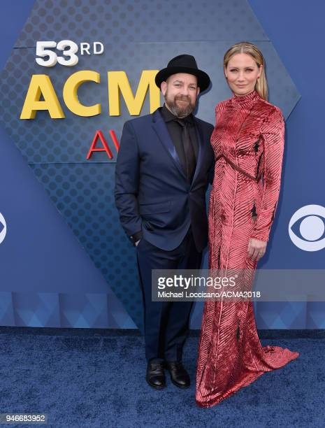 Kristian Bush and Jennifer Nettles attends the 53rd Academy of Country Music Awards at MGM Grand Garden Arena on April 15 2018 in Las Vegas Nevada