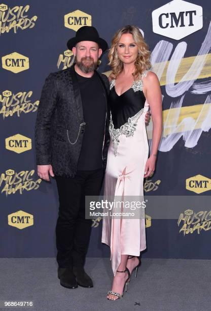 Kristian Bush and Jennifer Nettles of Sugarland attend the 2018 CMT Music Awards at Bridgestone Arena on June 6 2018 in Nashville Tennessee