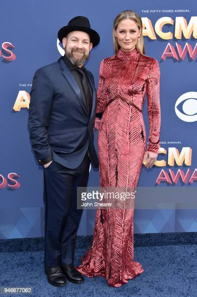 Kristian Bush and Jennifer Nettles of Sugarland attend the 53rd Academy of Country Music Awards at MGM Grand Garden Arena on April 15 2018 in Las...