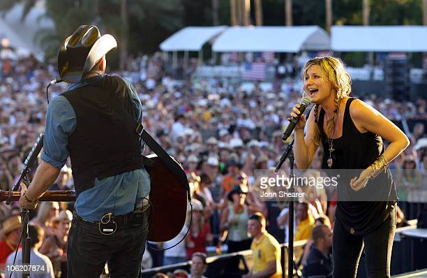 Kristian Bush and Jennifer Nettles of Sugarland during The Inaugural Stagecoach Country Music Festival Day 2 at Empire Polo Field in Indio California...