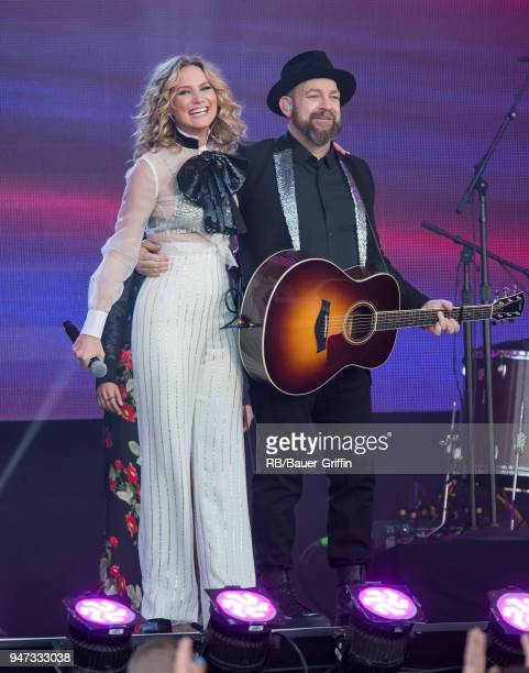 Kristian Bush and Jennifer Nettles of the country duo 'Sugarland' are seen at 'Jimmy Kimmel Live' on April 16 2018 in Los Angeles California