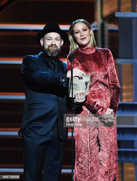 Kristian Bush and Jennifer Nettles speak onstage during the 53rd Academy of Country Music Awards at MGM Grand Garden Arena on April 15 2018 in Las...