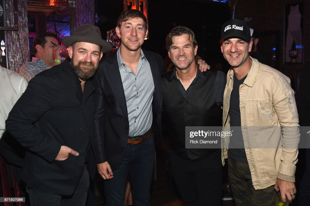 Kristian Bush, Ashley Gorley, Chris King, and Craig Campbell attend the Folds Of Honor CMS Nashville Songwriter of the Year Party 2017 at FGL House on November 7, 2017 in Nashville, Tennessee.
