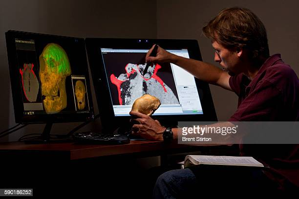 Kristian Carlson a scientist from the Institute for Human Evolution at Wits University works on CT scans of hominid fossils at Wits University...