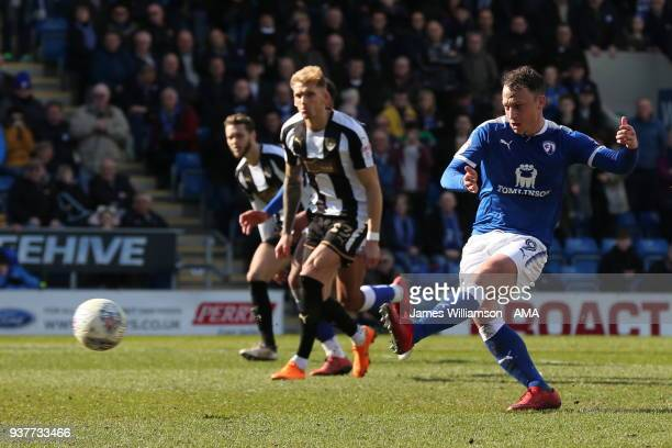 Kristian Dennis of Chesterfield scores a goal to make it 3-1 during the Sky Bet League Two match between Chesterfield and Notts County at Proact...