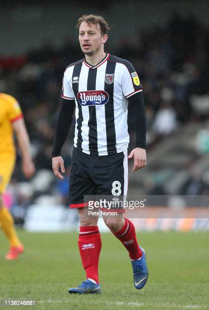 Kristian Dennis of Grimsby Town in action during the Sky Bet League Two match between Grimsby Town and Northampton Town at Blundell Park on March 16,...