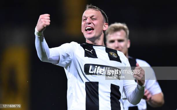 Kristian Dennis of Notts County celebrates after he scores during the Vanarama National League match between Notts County and Aldershot at Meadow...