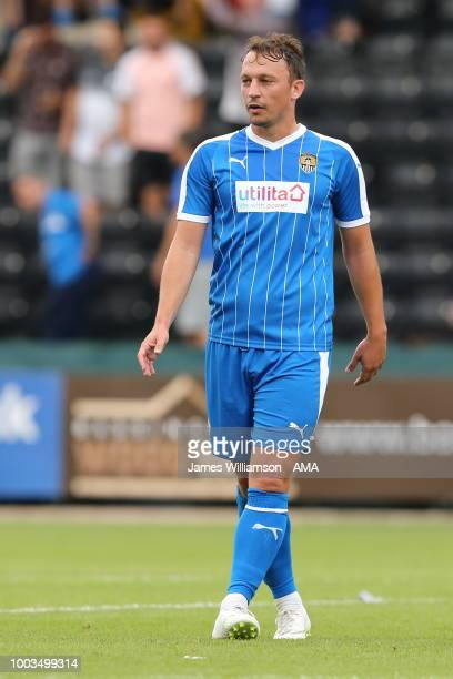 Kristian Dennis of Notts County during the preseason match between Notts County and Leicester City at Meadow Lane on July 21 2018 in Nottingham...