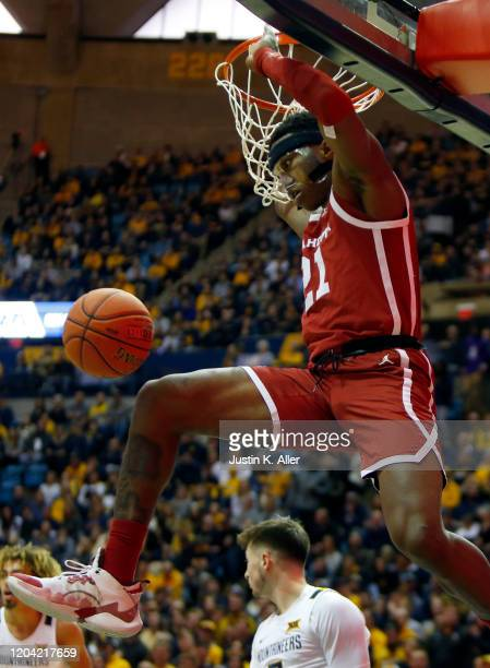 Kristian Doolittle of the Oklahoma Sooners dunks against the West Virginia Mountaineers at the WVU Coliseum on February 29, 2020 in Morgantown, West...