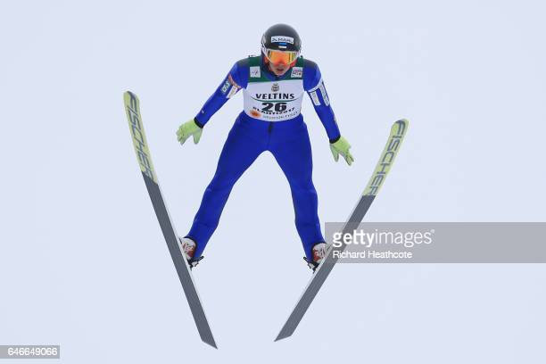 Kristian Ilves of Estonia competes in the Men's Nordic Combined HS130 during the FIS Nordic World Ski Championships on March 1 2017 in Lahti Finland