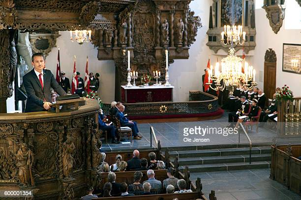 Kristian Jensen Foreign Minister speaks from the pulpit at the Flag Day ceremony for international deployed military personel veterans and those lost...