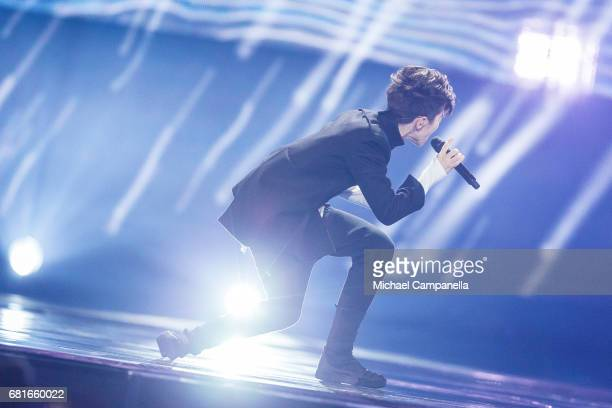 Kristian Kostov representing Bulgaria performs the song 'Beautiful Mess' during the rehearsal for the second semi final of the 62nd Eurovision Song...