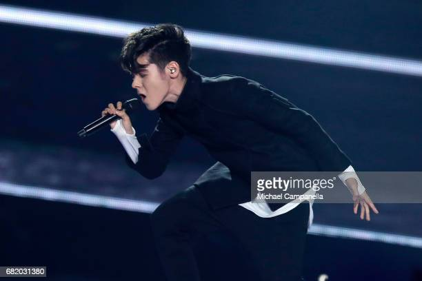 Kristian Kostov representing Bulgaria performs the song 'Beautiful Mess' during the second semi final of the 62nd Eurovision Song Contest at...