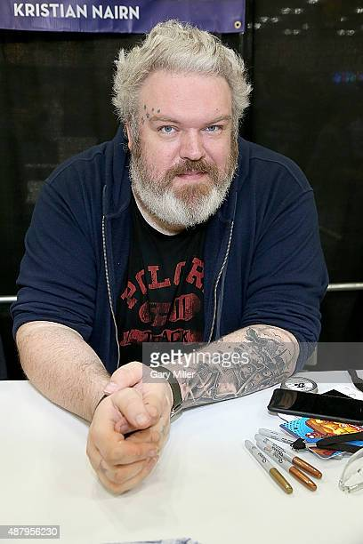 Kristian Nairn poses in between meeting with fans during the Alamo City Comic Con at Henry B Gonzalez Convention Center on September 12 2015 in San...