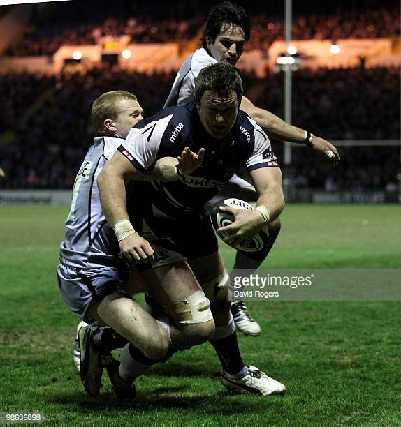 Kristian Ormsby of Sale dives over to score a try during the Guinness Premiership match between Sale Sharks and Newcastle Falcons at Edgeley Park on...