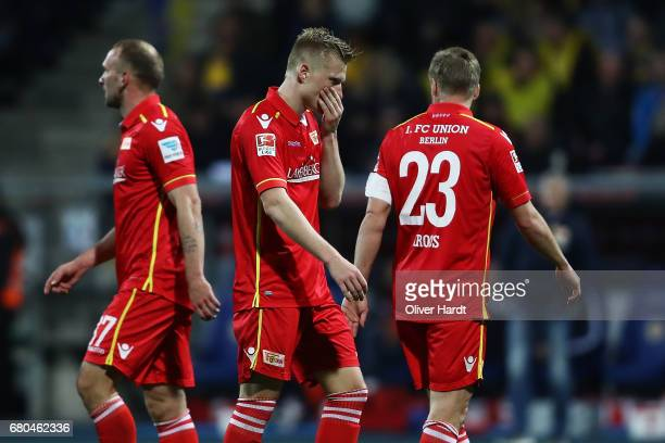 Kristian Pedersen of Berlin compete for the ball during the Second Bundesliga match between Eintracht Braunschweig and 1 FC Union Berlin at Eintracht...