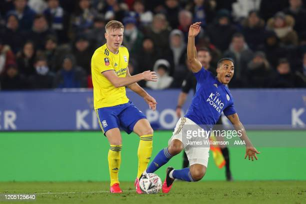 Kristian Pedersen of Birmingham City fouls Youri Tielemans of Leicester City during the FA Cup Fifth Round match between Leicester City and...