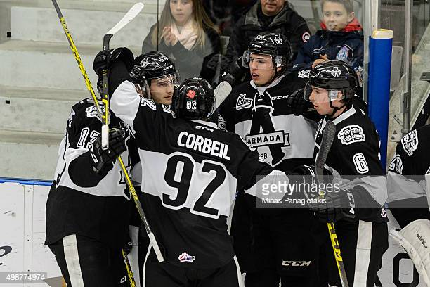 Kristian Pospisil of the Blainville-Boisbriand Armada celebrates his goal with teammates during the QMJHL game against the Moncton Wildcats at the...