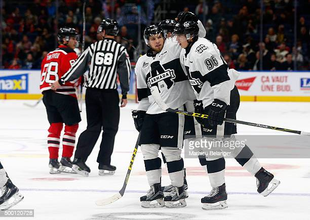 Kristian Pospisil of the BlainvilleBoisbriand Armada is congratulated by teammate after he scored a goal Quebec Remparts during their CHL hockey game...