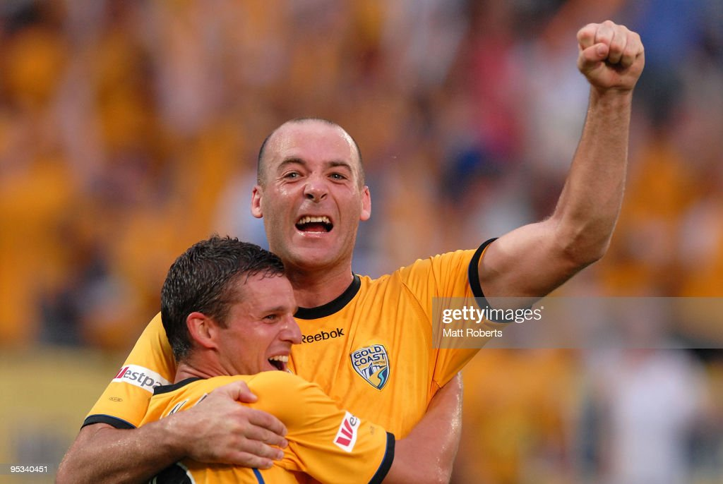 Kristian Rees (R) of United celebrates his second goal with Jason Culina of United during the round 21 A-League match between Gold Coast United and Brisbane Roar at Skilled Park on December 26, 2009 in Gold Coast, Australia.