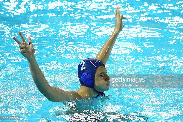 Kristian Sulc of Serbia celebrates scoring his penalty during the Men's Waterpolo Semi Final match between Greece and Serbia on day seven of the Baku...