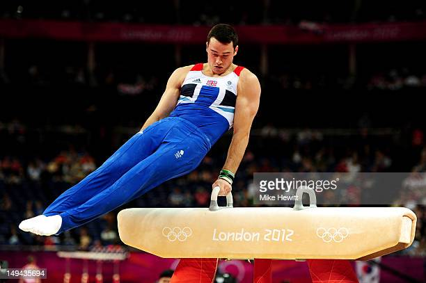 Kristian Thomas of Great Britain competes in the pommel horse for the qualification of the Artistic Gymnastics Men's Team on day one of the London...