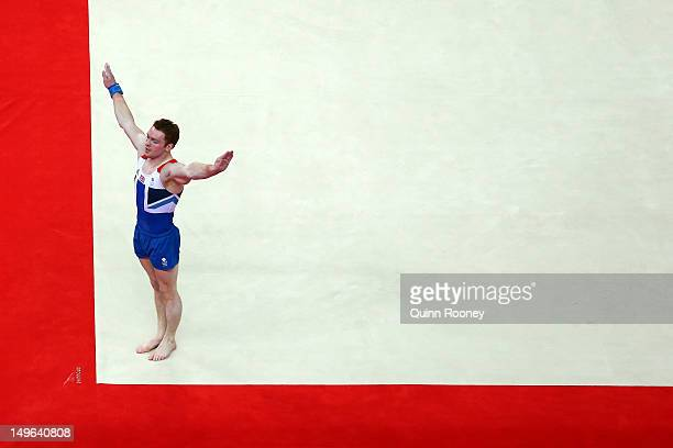 Kristian Thomas of Great Britain competes on the floor in the Artistic Gymnastics Men's Individual AllAround final on Day 5 of the London 2012...