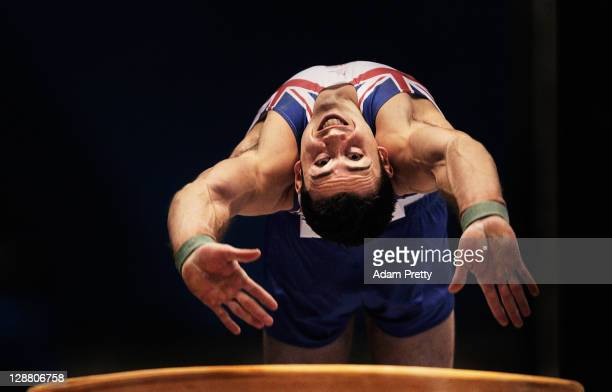Kristian Thomas of Great Britain competes on the Vault aparatus in the Men's qualification during day four of the Artistic Gymnastics World...