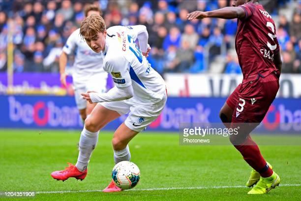 Kristian Thorstvedt forward of Genk Eder Balanta defender of Club Brugge during the Jupiler Pro League match between KRC Genk and Club Brugge KV on...
