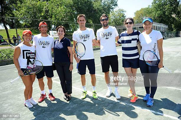 Kristie Ahn Pablo Cuevas Beryl LacosteHamilton Édouard RogerVasselin Jeremy Chardy Nathalie Dechy and Latisha Chan attend the ACOSTE And City Parks...
